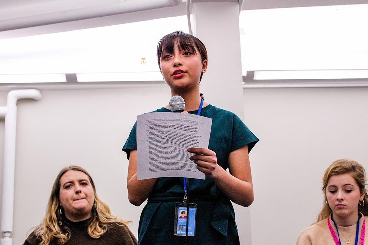 Women LEAD Nepal student Anukriti Kunwar at Teaching Consent and Ending Sexual Assault event in 2019